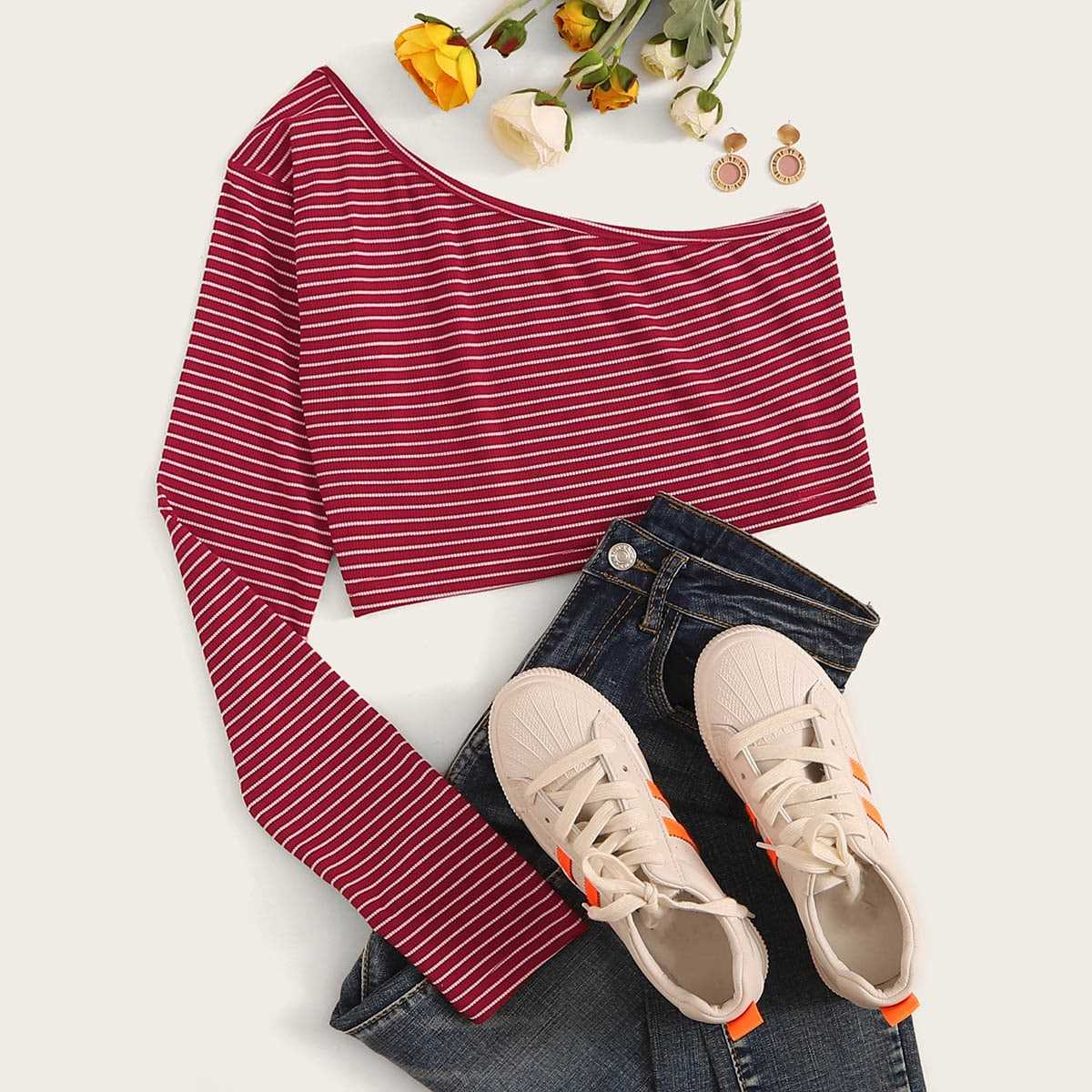 One Shoulder Striped Ribbed Top in Red by ROMWE on GOOFASH
