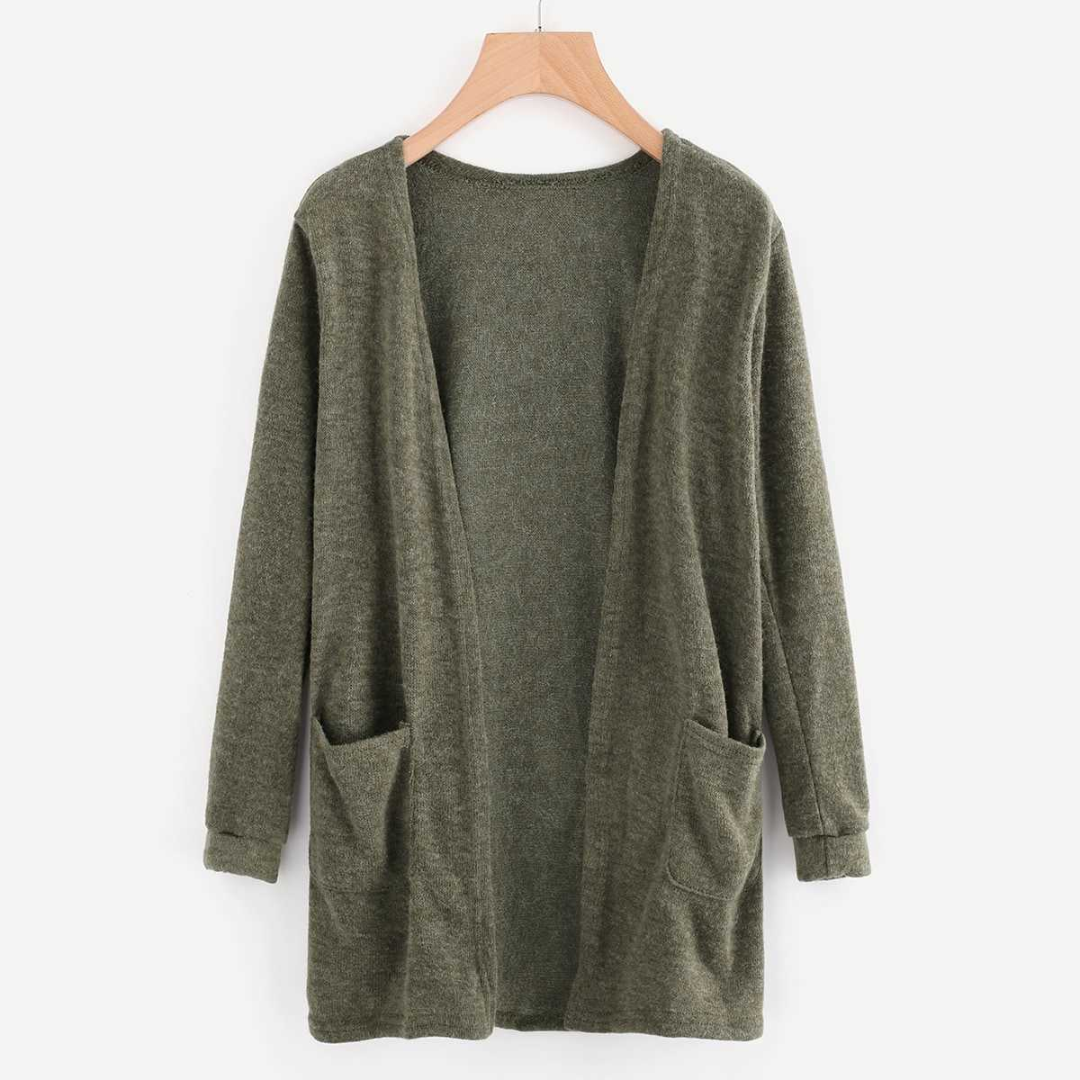 Open Front Cardigan With Pockets in Green by ROMWE on GOOFASH