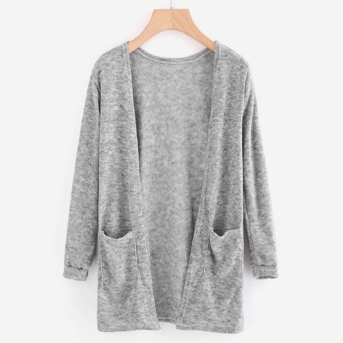 Open Front Cardigan With Pockets in Grey by ROMWE on GOOFASH