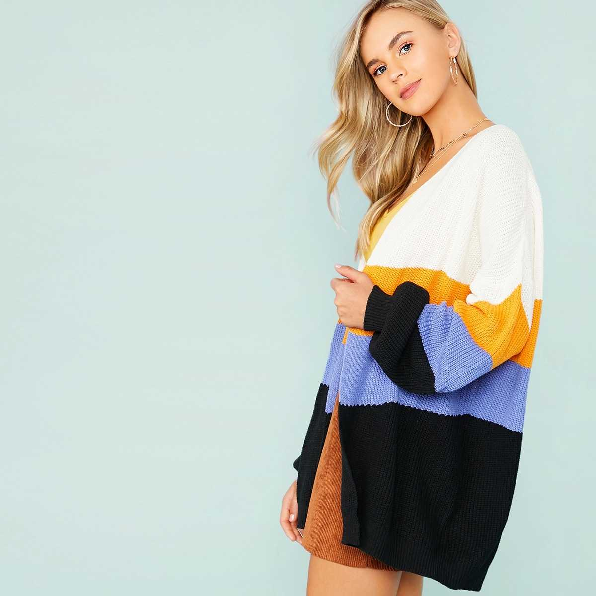 Open Front Drop Shoulder Colorblock Cardigan in Multicolor by ROMWE on GOOFASH