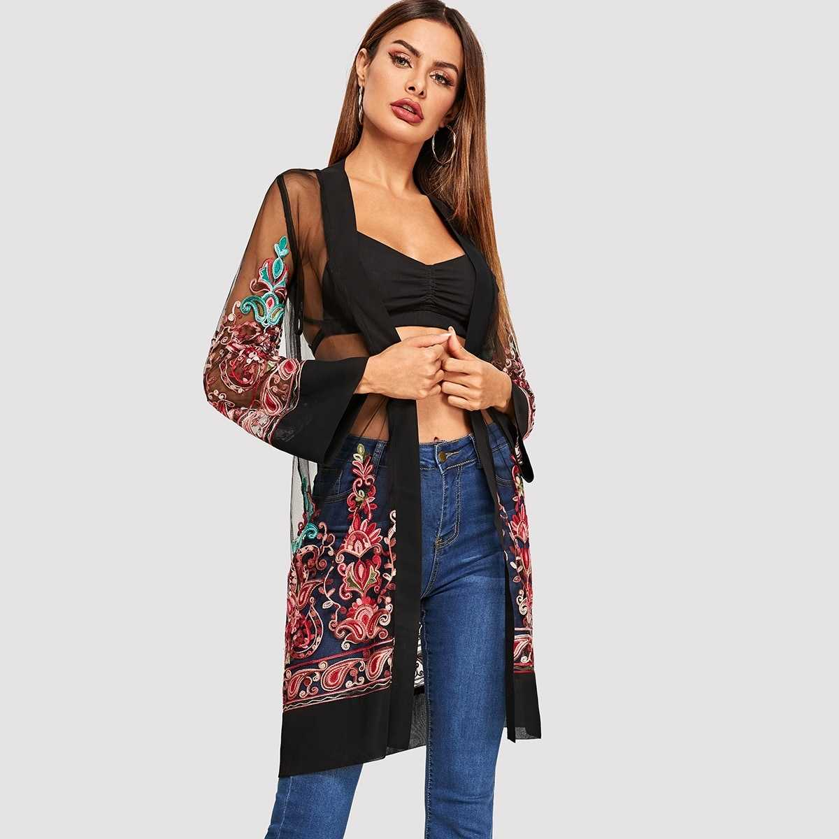 Open Front Mesh Flower Embroidered Kimono in Multicolor by ROMWE on GOOFASH