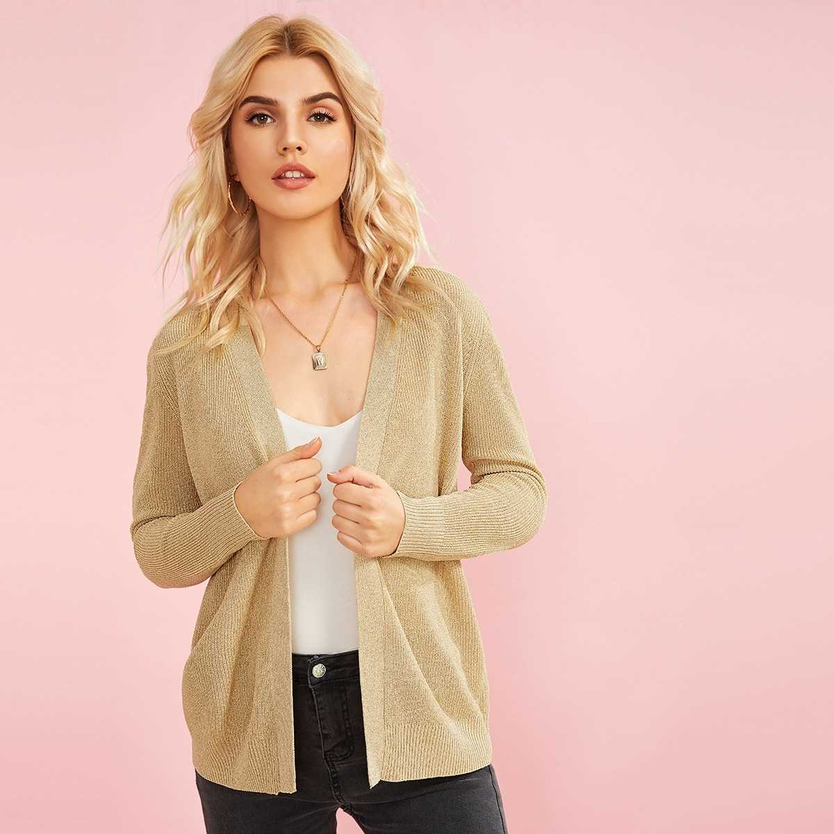 Open Front Thick Knit Cardigan in Khaki Pastel by ROMWE on GOOFASH