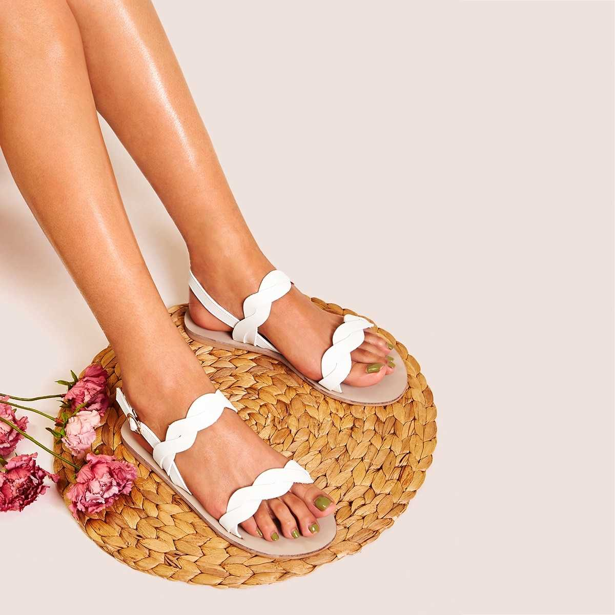 Open Toe Buckle Strap Sandals in White by ROMWE on GOOFASH