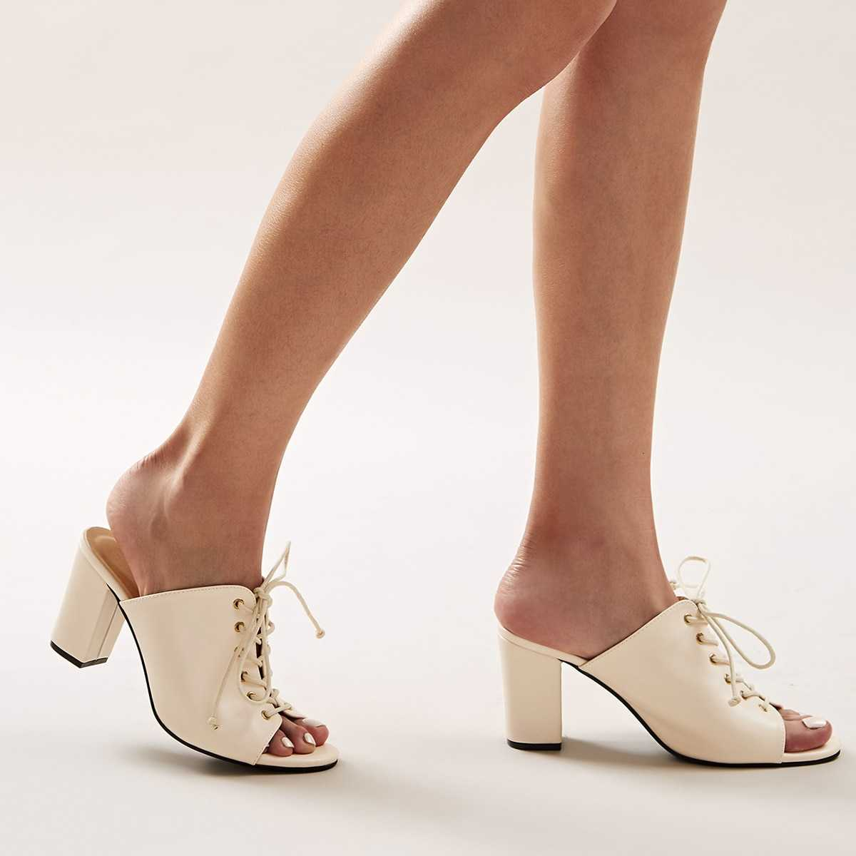 Open Toe Lace-up Front Chunky Heeled Mules in Apricot by ROMWE on GOOFASH