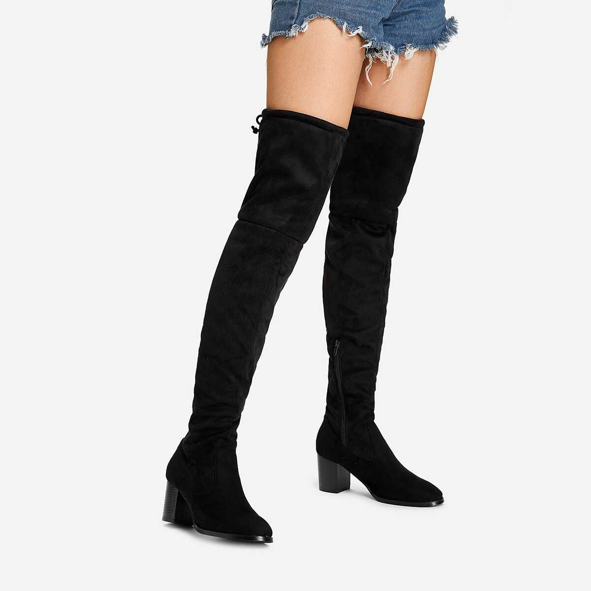 Over The Knee Plain Boots - Shein - GOOFASH