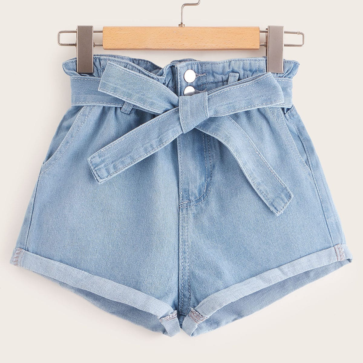 Paperbag Waist Belted Cuffed Denim Shorts in Blue Pastel by ROMWE on GOOFASH