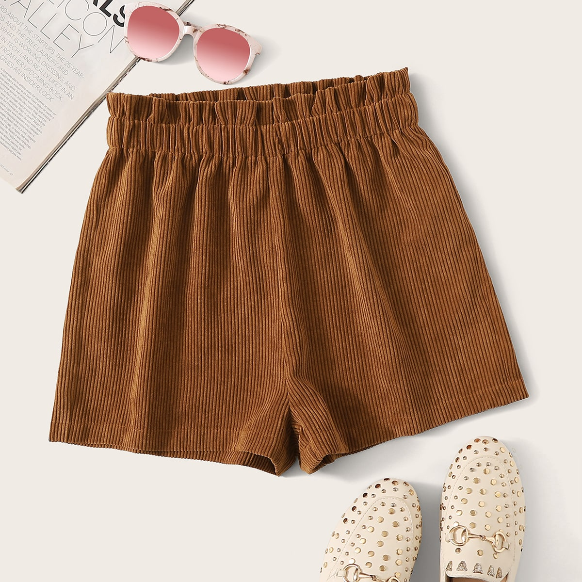 Paperbag Waist Cord Shorts in Brown by ROMWE on GOOFASH