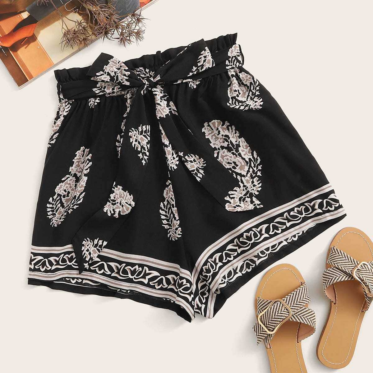 Paperbag Waist Tribal Print Shorts in Black by ROMWE on GOOFASH