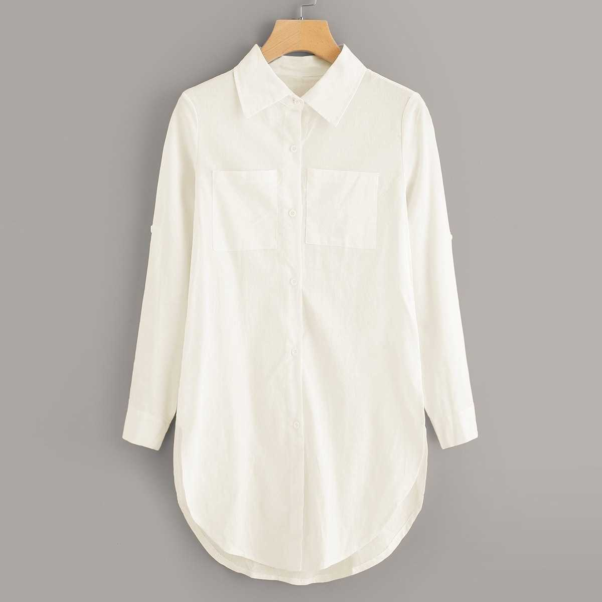 Patch Pocket Curved Hem Longline Shirt in White by ROMWE on GOOFASH