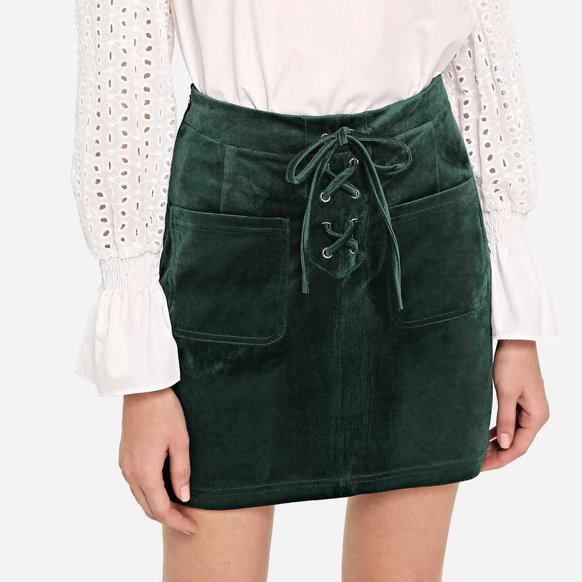 Patch Pocket Lace-Up Front Suede Skirt - Shein - GOOFASH