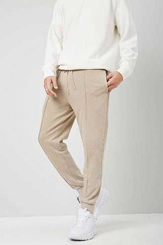 Piped Seam Joggers at Forever 21  Taupe - GOOFASH