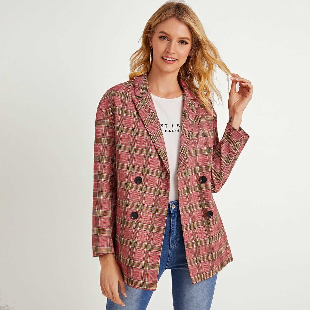Plaid Lapel Collar Double Breasted Blazer in Red by ROMWE on GOOFASH