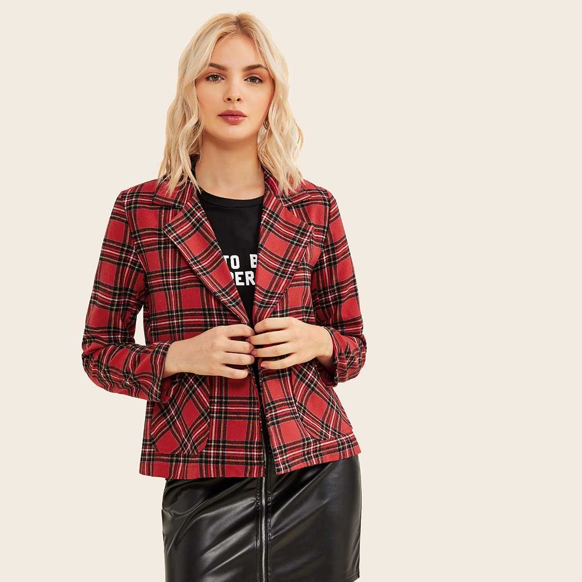 Plaid Notched Neck Dual Pocket Blazer in Red by ROMWE on GOOFASH