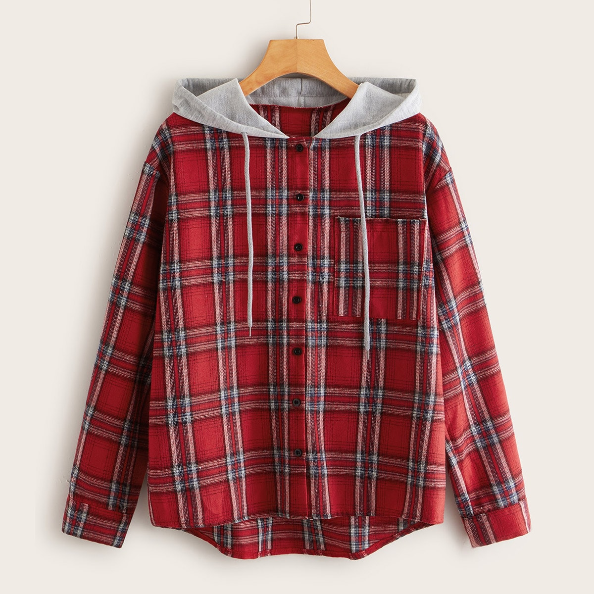 Plaid Pocket Front Hooded Blouse in Red by ROMWE on GOOFASH