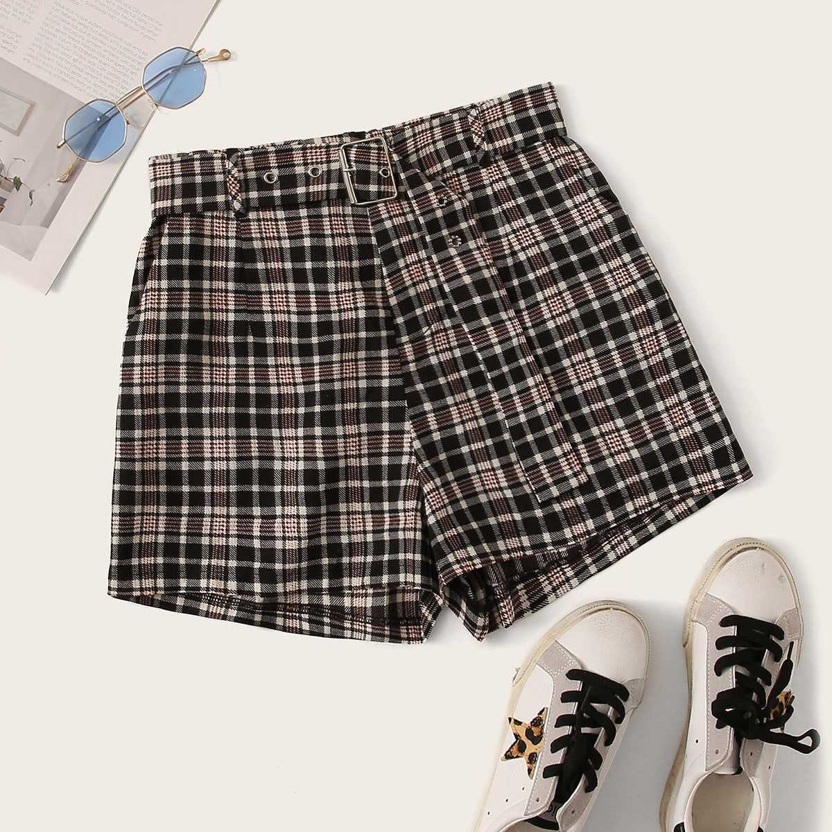 Plaid Print High Waist Belted Shorts in Multicolor by ROMWE on GOOFASH