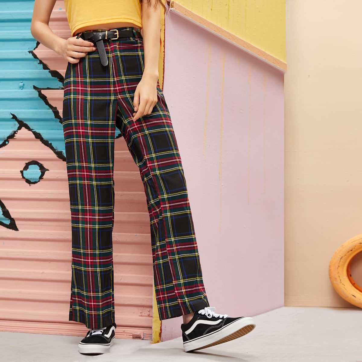 Plaid Wide Leg Pants Without Belt in Multicolor by ROMWE on GOOFASH