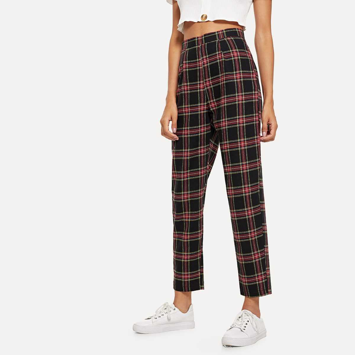 Plaid Zip Side Pants in Multicolor by ROMWE on GOOFASH