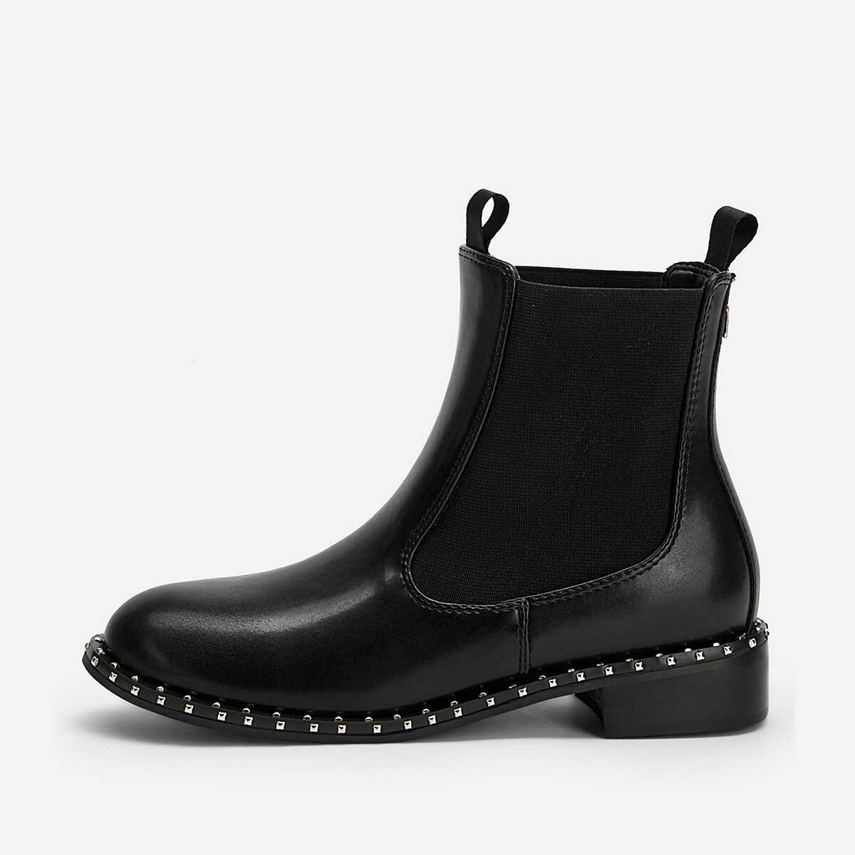 Plain Studded Detail Ankle Boots - Shein - GOOFASH