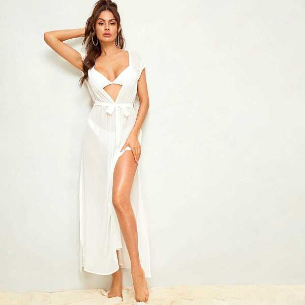Plunge Neck Split Thigh Backless Belted Cover Up - Shein - GOOFASH