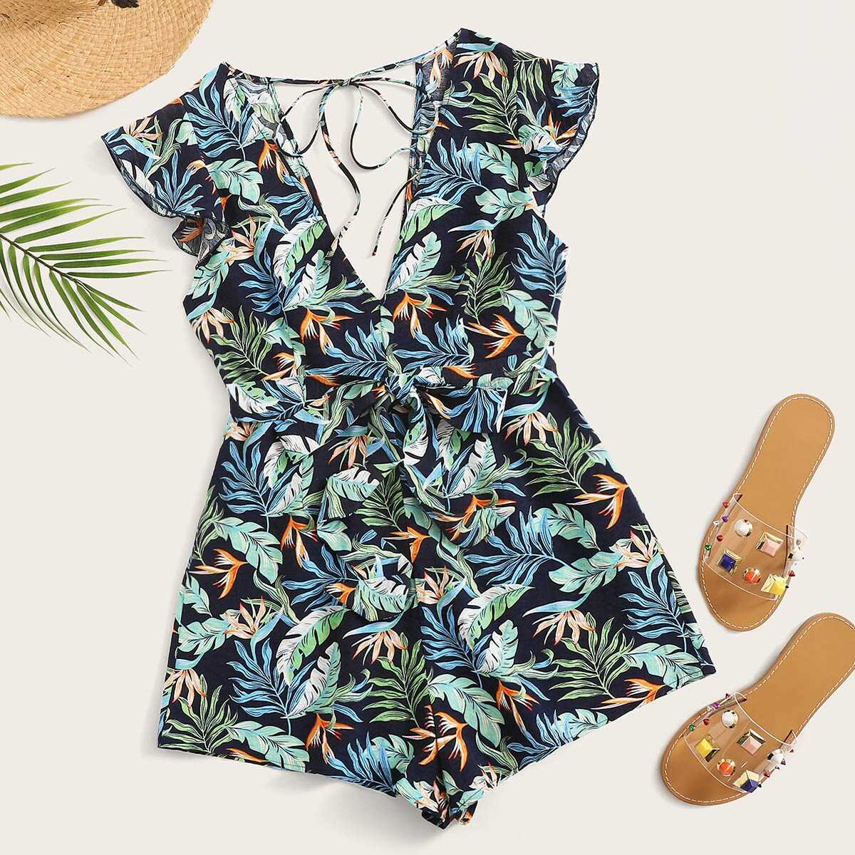 Plunge Neck Tied Back Tropical Playsuit - Shein - GOOFASH