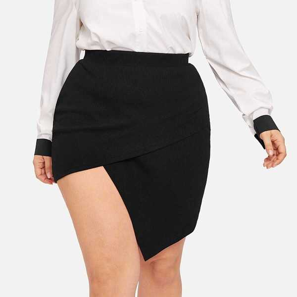 Plus Asymmetrical Hem Skirt - Shein - GOOFASH