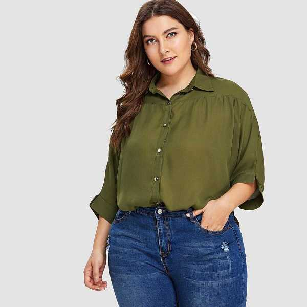 Plus Batwing Sleeve Button Front Blouse - Shein - GOOFASH