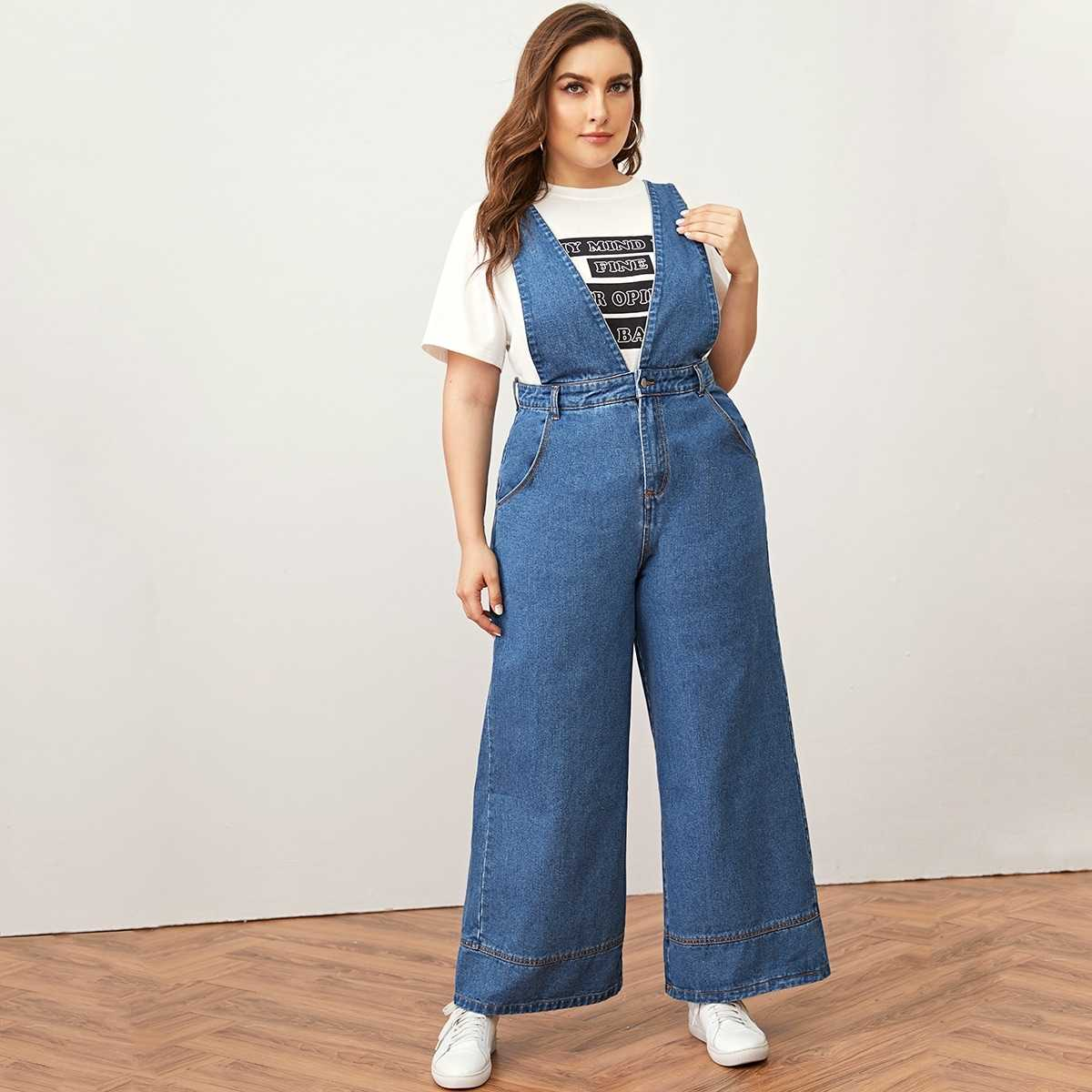 Plus Bleach Wash Wide Leg Denim Overall in Blue by ROMWE on GOOFASH