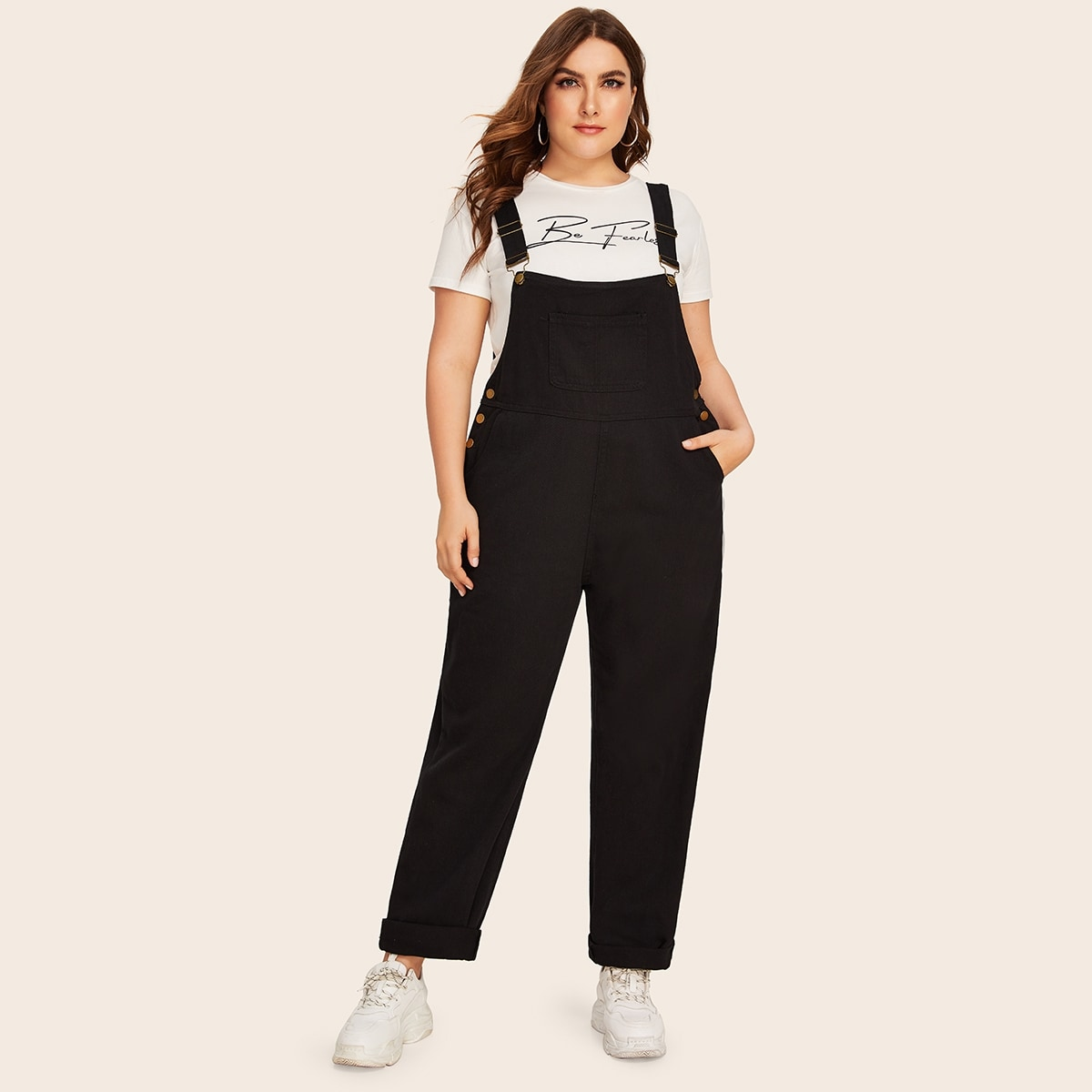 Plus Button Decoration Pocket Denim Overalls in Black by ROMWE on GOOFASH