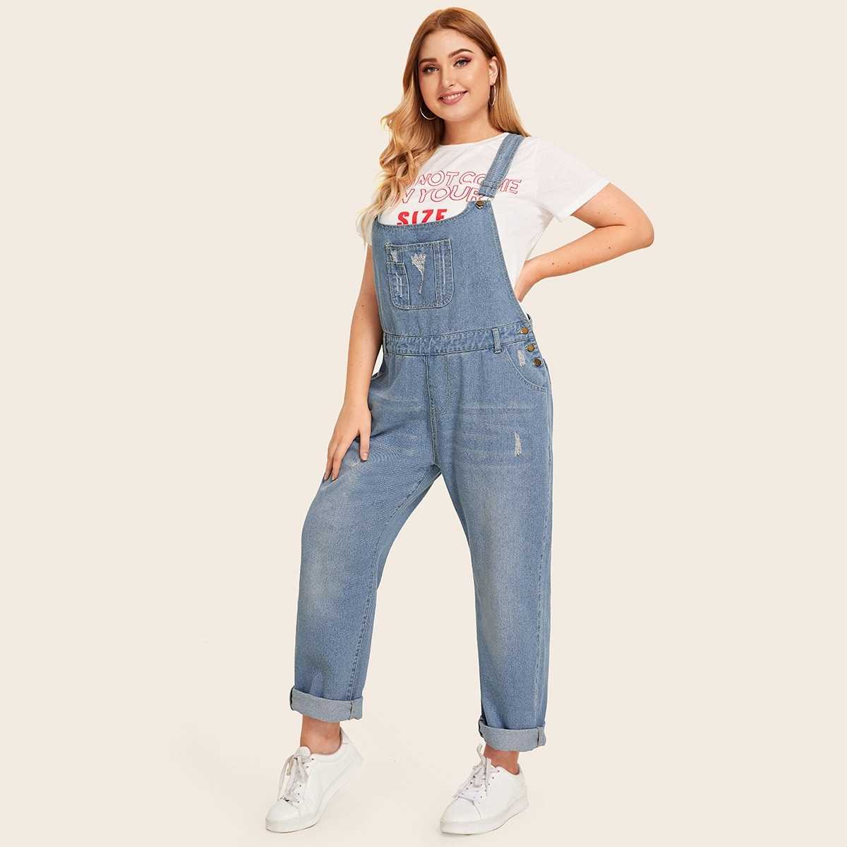 Plus Button Decoration Pocket Ripped Denim Overalls in Blue by ROMWE on GOOFASH