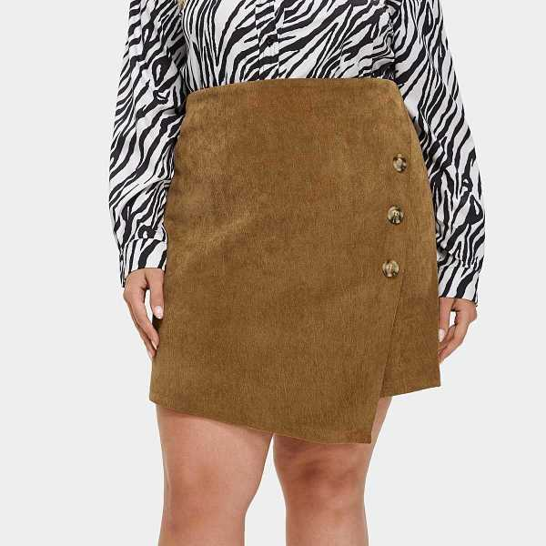 Plus Buttoned Wrap Corduroy Skirt - Shein - GOOFASH