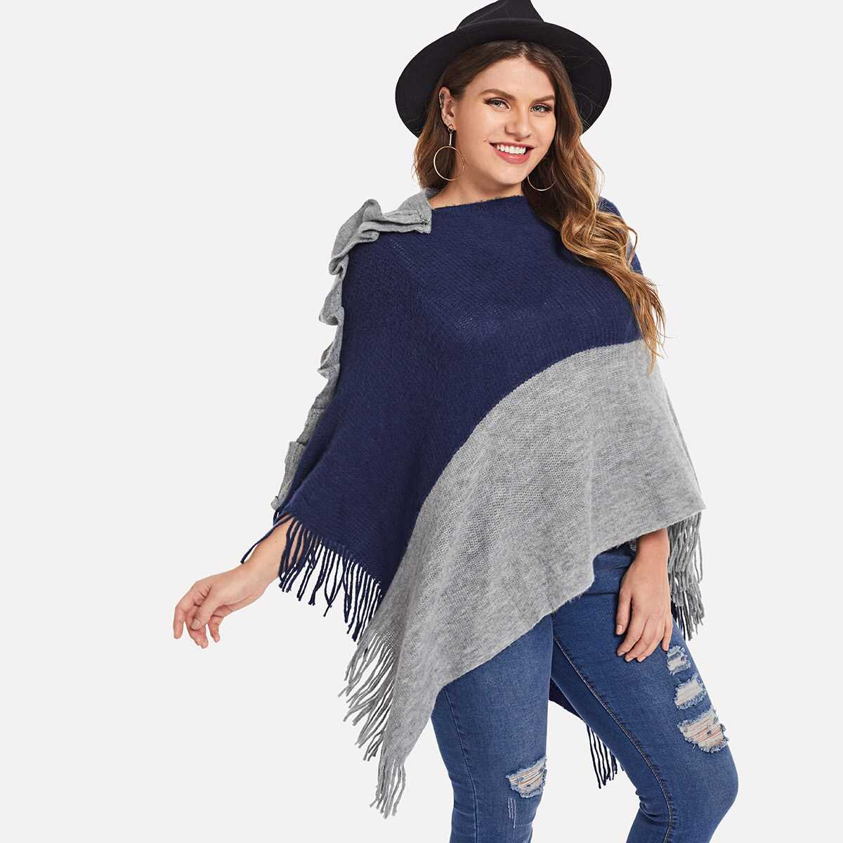 Plus Color Block Fringe Capes - Shein - GOOFASH