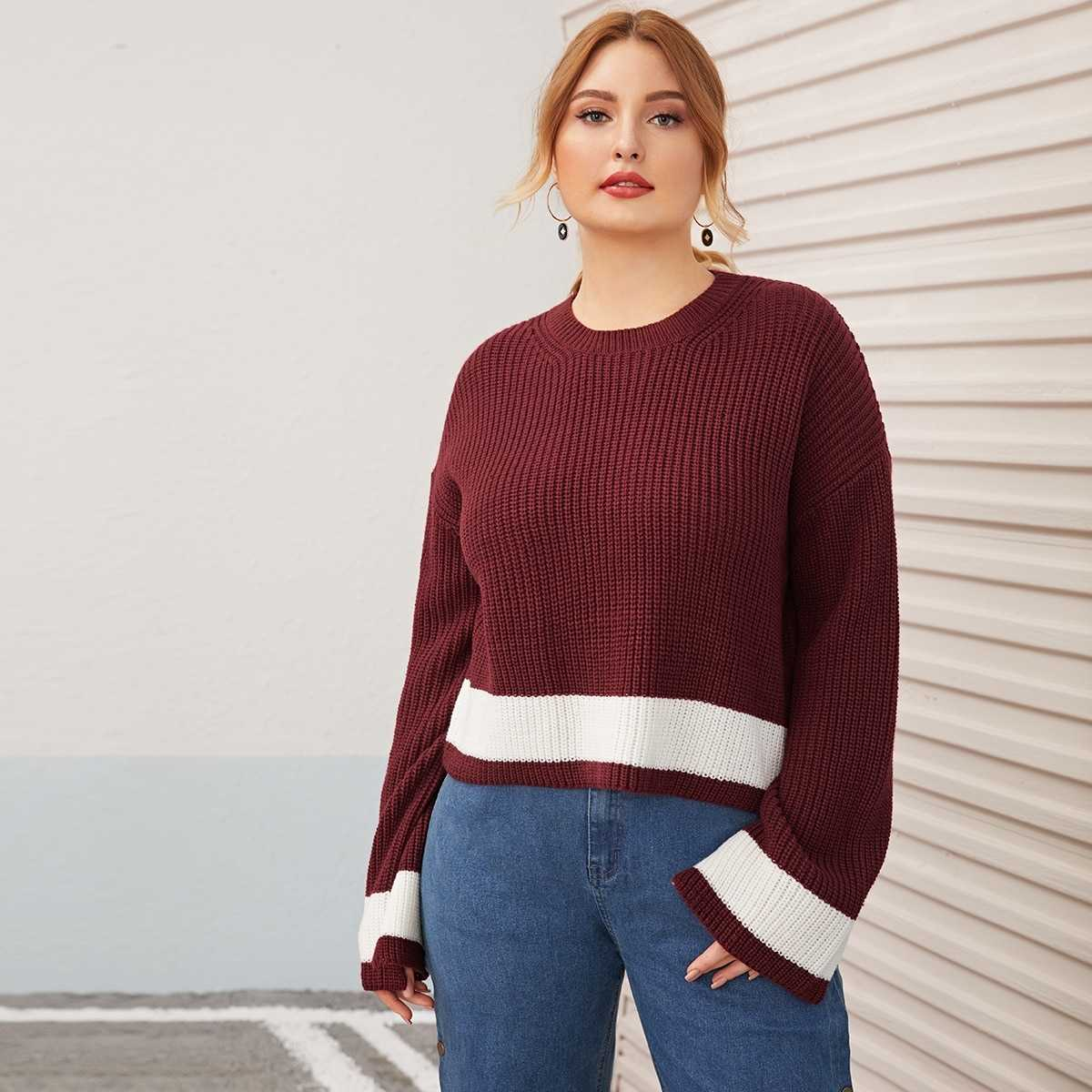 Plus Colorblock Rib Knit Sweater in Red by ROMWE on GOOFASH