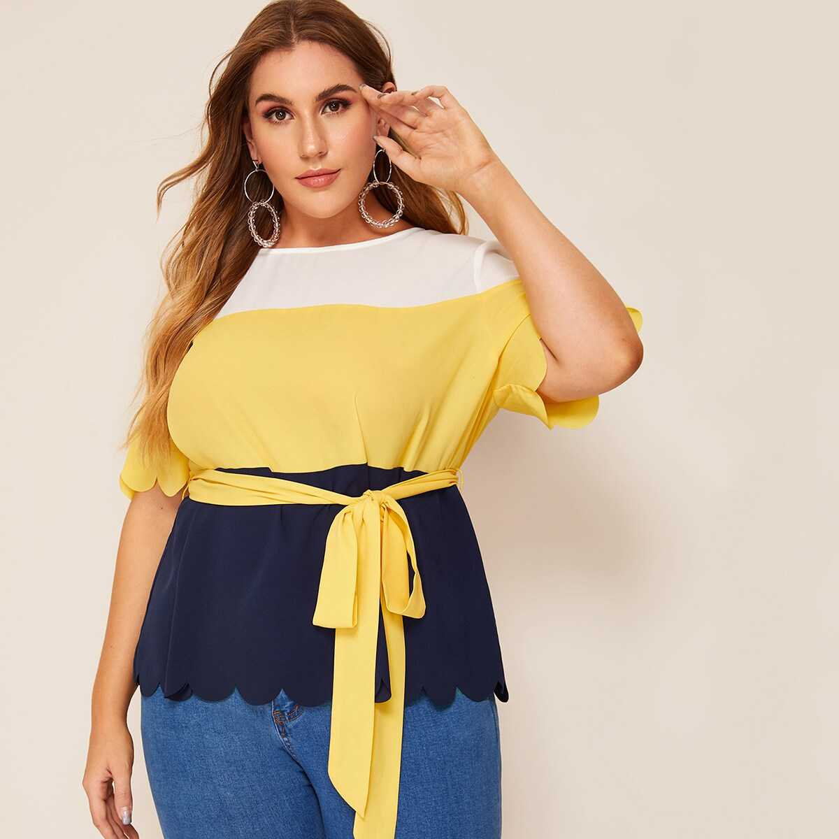 Plus Colorblock Scallop Hem Belted Blouse - Shein - GOOFASH