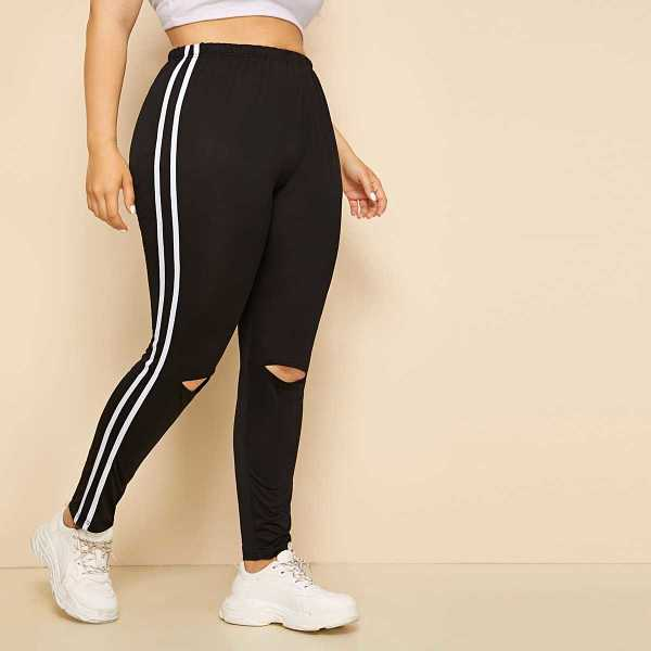 Plus Contrast Taped Ripped Leggings in Black by ROMWE on GOOFASH