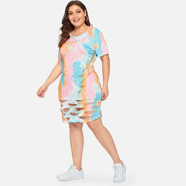 Plus Cut Out Tie Dye Dress - Shein - GOOFASH