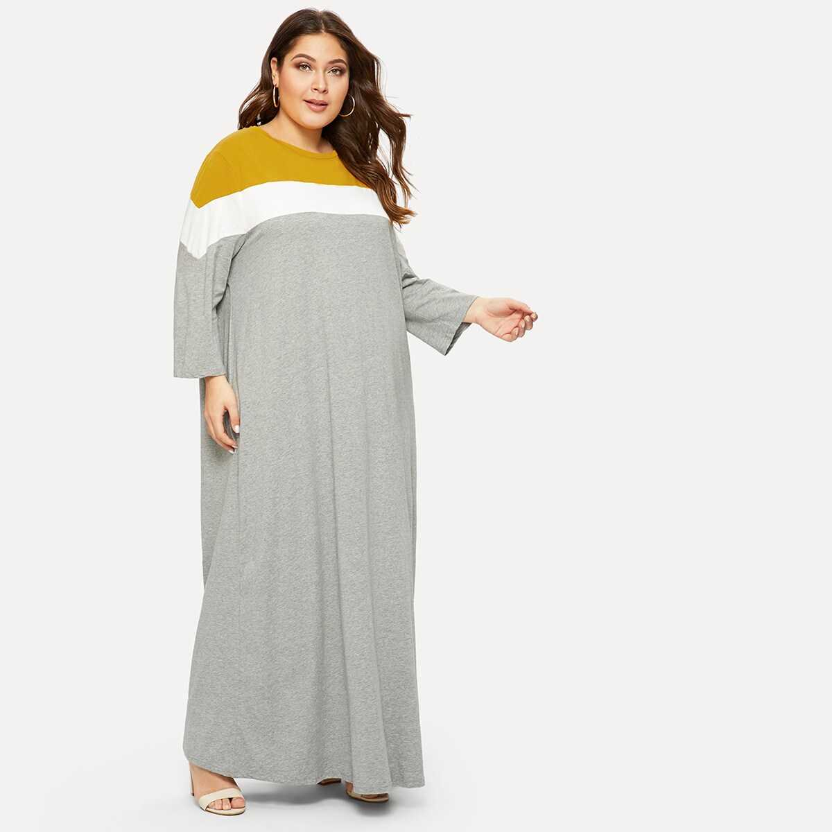 Plus Cut-and-sew Heather Knit Maxi Dress - Shein - GOOFASH