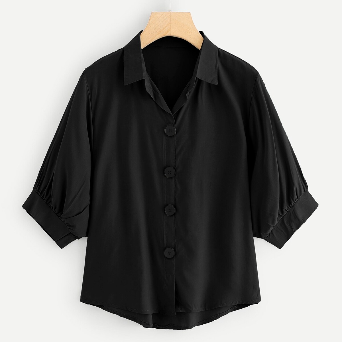 Plus Dip Hem Button Through Blouse - Shein - GOOFASH
