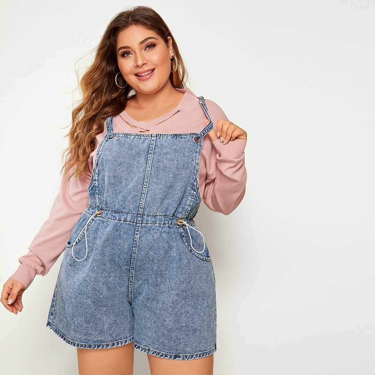 Plus Drawstring Waist Denim Overalls in Blue by ROMWE on GOOFASH