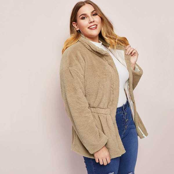 Plus Elastic Waist Zip Up Teddy Coat - Shein - GOOFASH