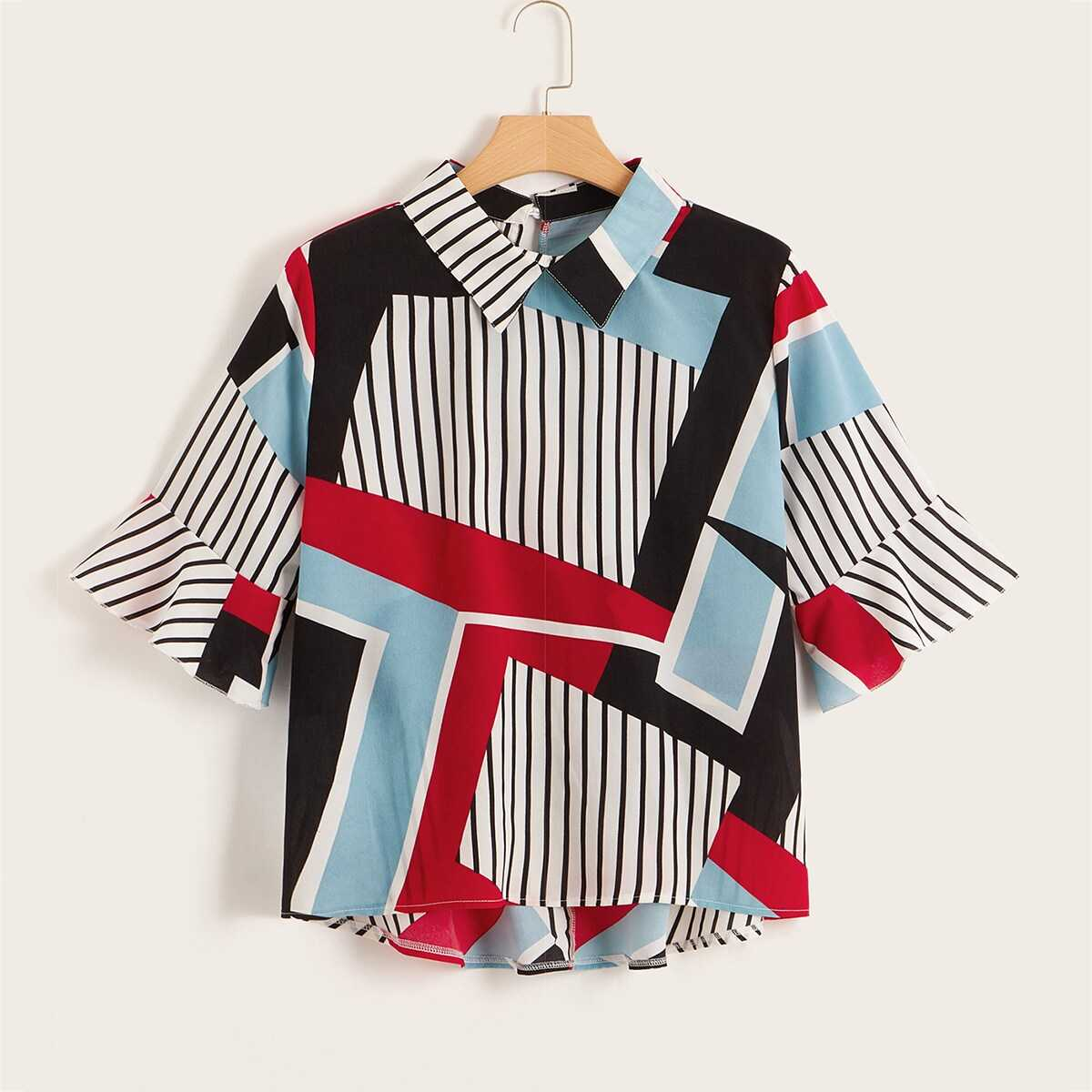 Plus Flounce Sleeve Stripe High Low Blouse - Shein - GOOFASH