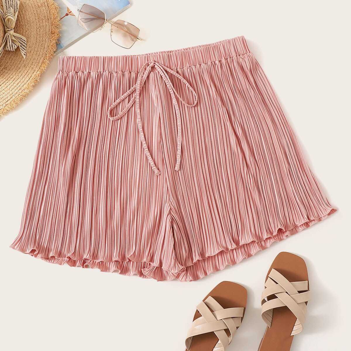 Plus Knot Front Lettuce Trim Pleated Shorts - Shein - GOOFASH