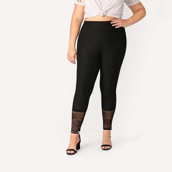 Plus Lace Hem Fitted Leggings - Shein - GOOFASH