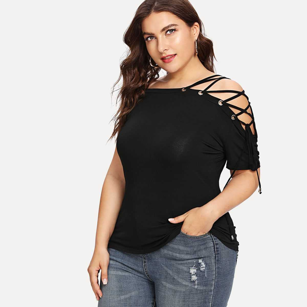 Plus Lace-Up Solid Tee in Black by ROMWE on GOOFASH
