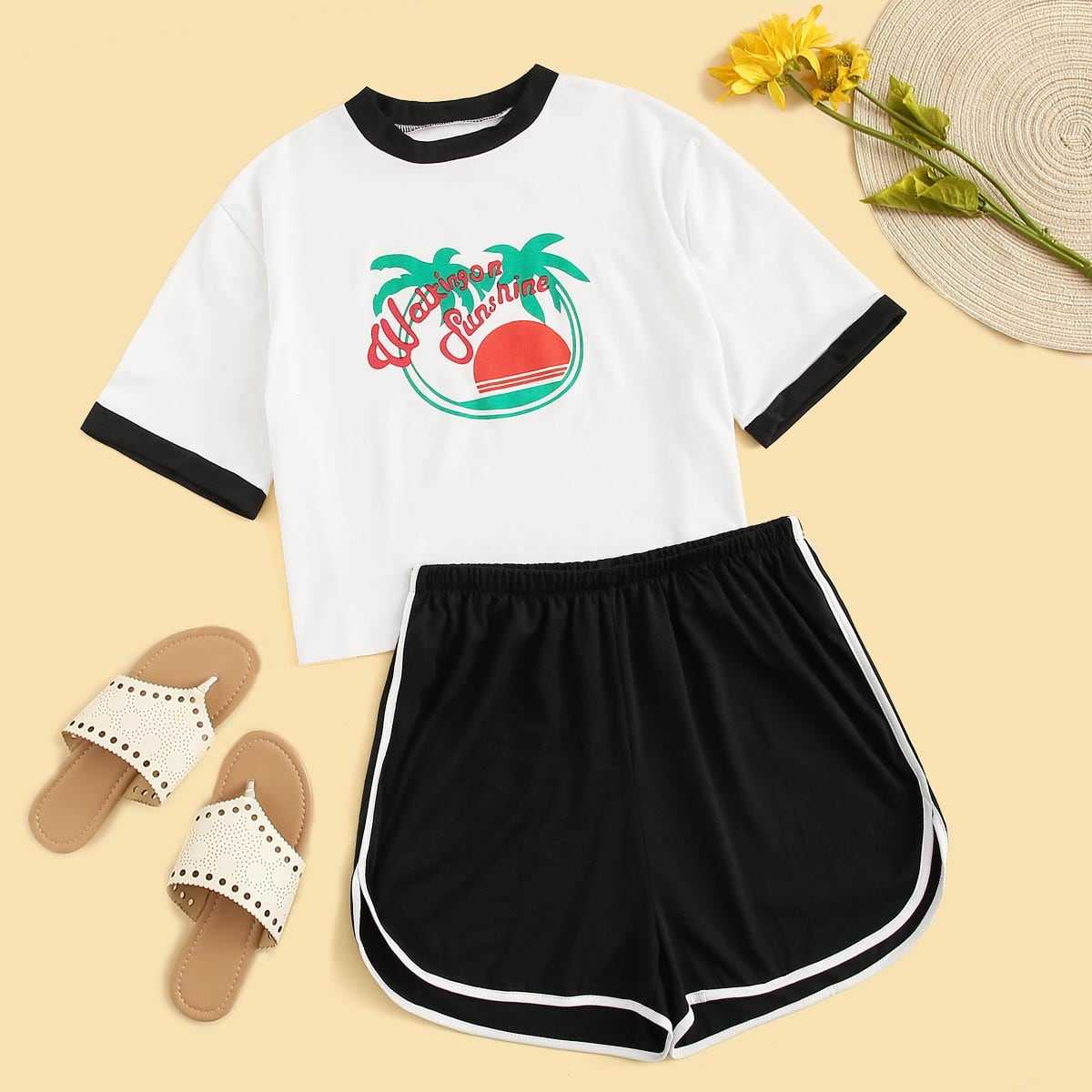 Plus Letter Print Contrast Binding Tee With Dolphin Shorts in Black and White by ROMWE on GOOFASH
