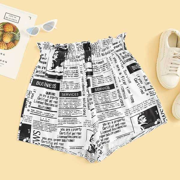 Plus Newspaper Print Frill Waist Shorts - Shein - GOOFASH