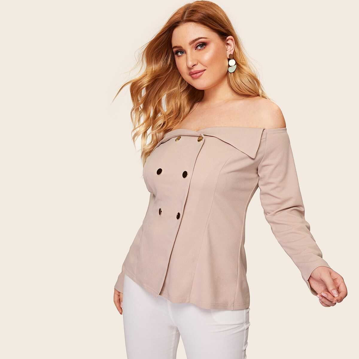 Plus Off Shoulder Double Breasted Blouse - Shein - GOOFASH