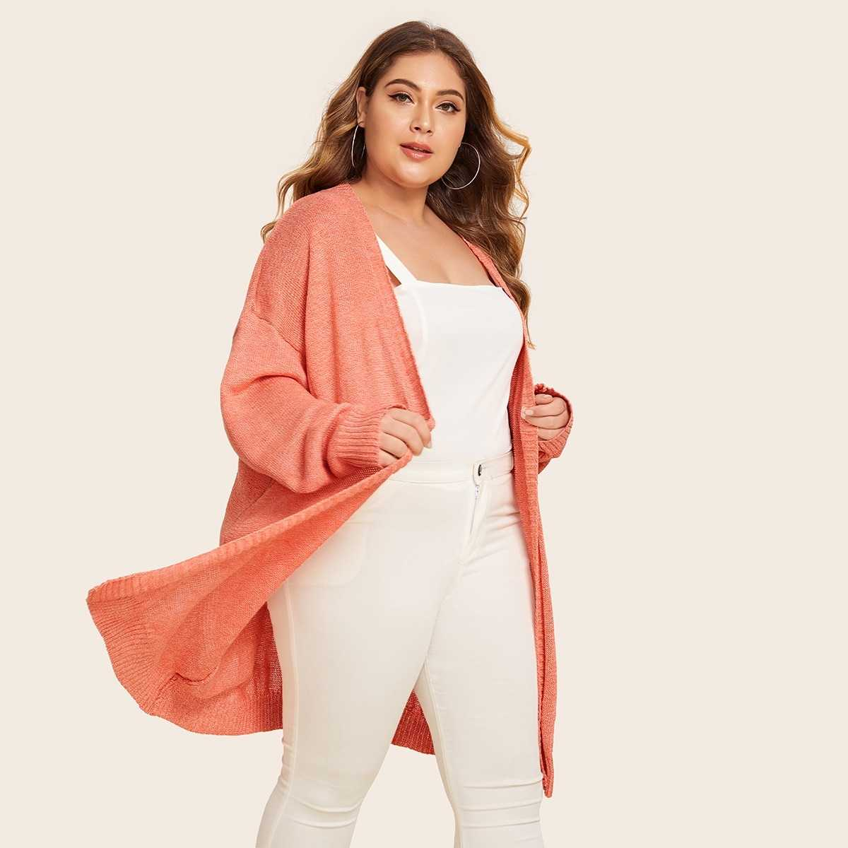 Plus Open Front Drop Shoulder Cardigan in Orange Pastel by ROMWE on GOOFASH