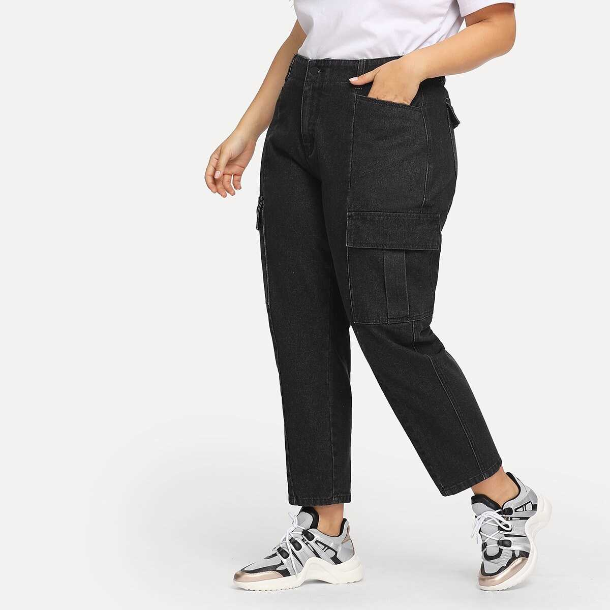 Plus Pocket Front Tapered Jeans - Shein - GOOFASH