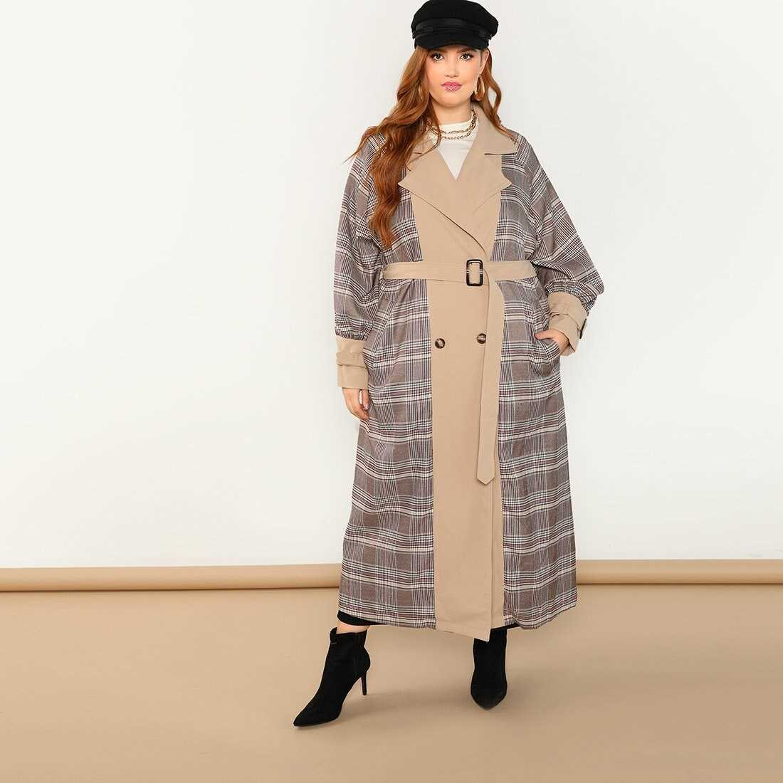 Plus Self Belted Plaid Longline Coat - Shein - GOOFASH