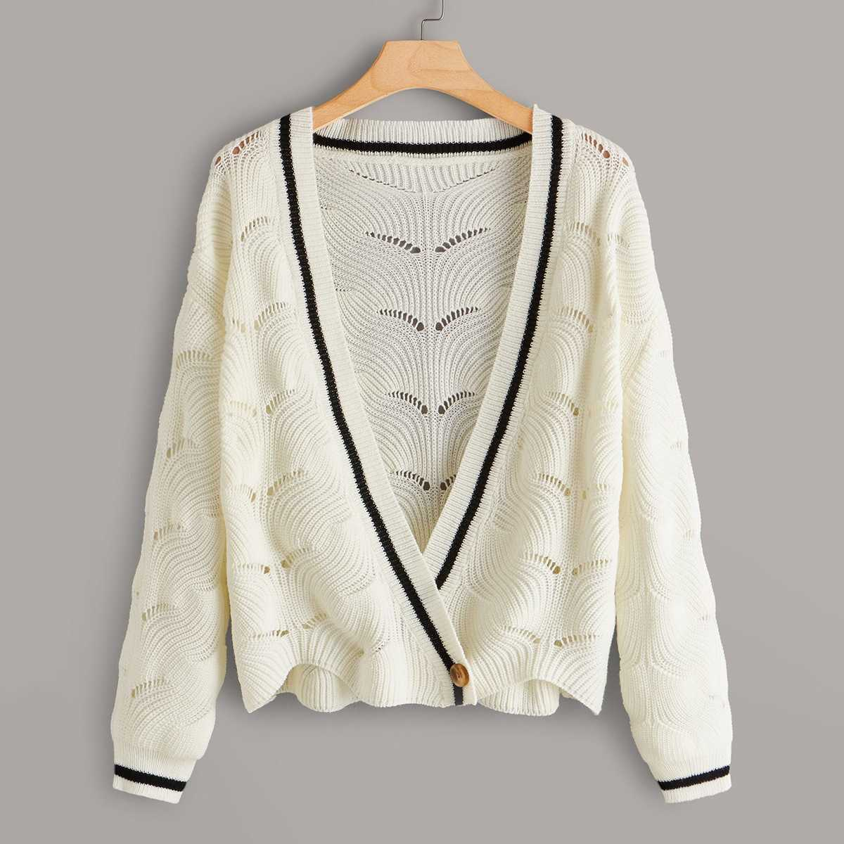 Plus Single Button Contrast Tape Cardigan in White by ROMWE on GOOFASH